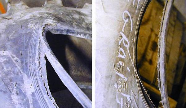 Drahtkern, der sich vom Reifen gelöst hat
