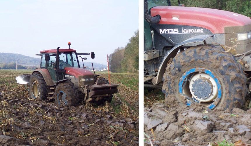 Nassschlupf von Traktorreifen