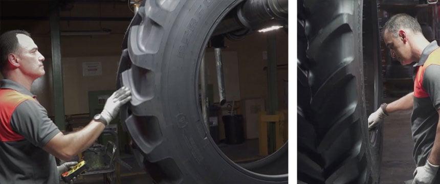 Manuelle Qualitätsprüfung bei Traktorreifen