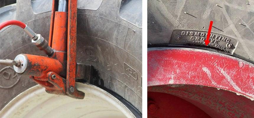 Positionierung an der Demontagestelle, um den Reifen von der Felge zu lösen