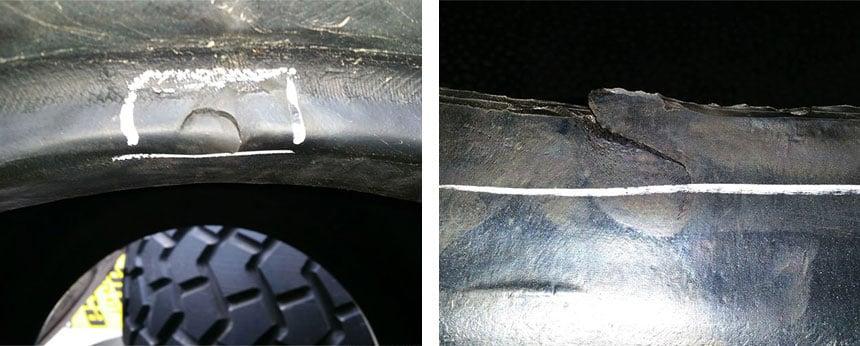 Mit einem Hebel gequetschte Reifenwulst
