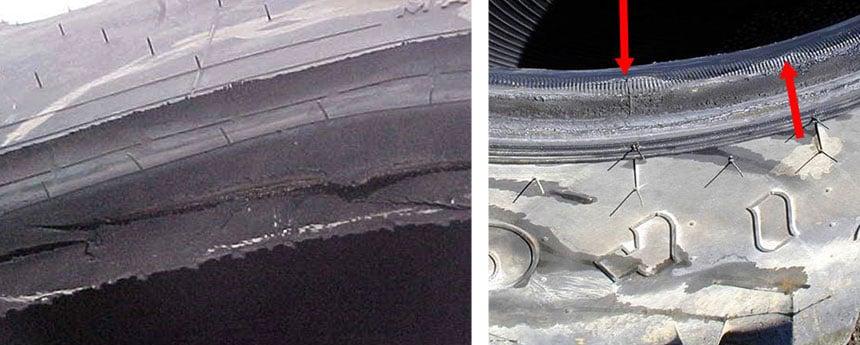 Bei der Montage beschädigte oder falsch positionierte Reifenwulst