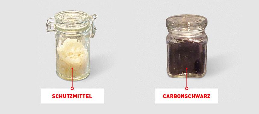 Links das Schutzmittel, rechts Carbonschwarz