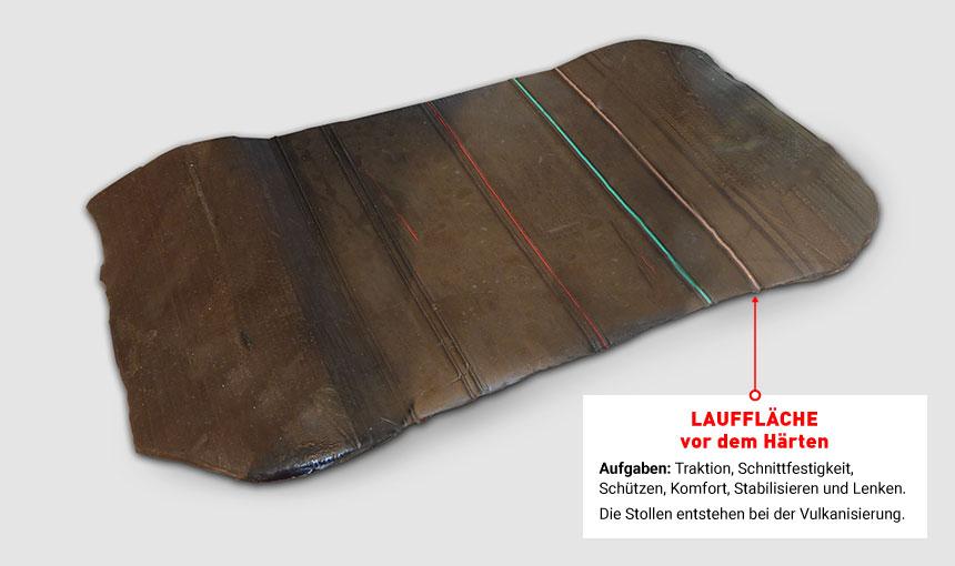 Profil- oder Lauffläche vor dem Erhitzen